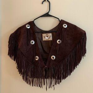 Suede Leather Fringe Vest